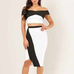 Wow Couture Off Shoulder White 2 Piece Set